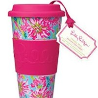 Lilly Pulitzer Travel Mug, Trippin and Sippin - Kitchen Drinkware Cup Glass 143004- LGPLP