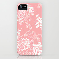 lovely light pink floral pattern iPhone & iPod Case by PatternWorld
