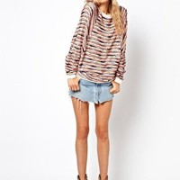 ASOS PETITE Top in Multi Colour Texture with Batwing at asos.com