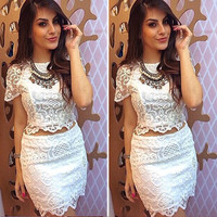 Sexy white lace short dress  ( two-piece ) QZ1027A