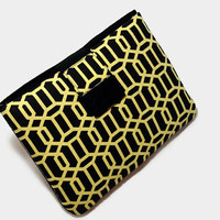 Hand Crafted Tablet Case from Black and Yellow Geometric Fabric/Case for: iPad Mini, Kindle Fire,Samsung Galaxy , Google Nexus,  Nook HD