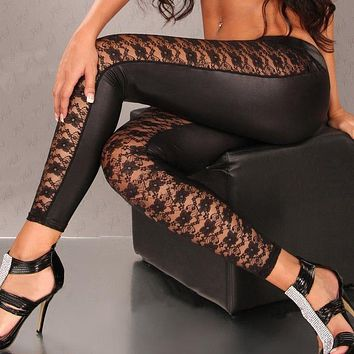 Hot Charming PU Leather Lace Leggings Skinny Stretch Pants transparent sexy leggings for women hollow out sexiest lace leggings