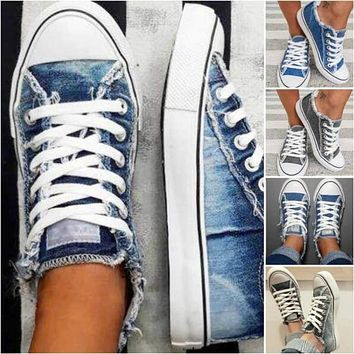 Women Canvas Shoes Denim Thin Casual Spring Autumn T-tied Low-top Leisure Students Shoes