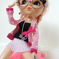 Pink Dots pullip outfit,  also for purenemo, blythe, azone, momoko, obitsu, ... doll size1/6