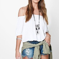 Molly Woven Short Sleeve Off The Shoulder Top