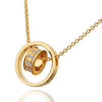 Gold/Rose-Gold Plated Chain Necklace Pendant Jewelry Fashion For Women 2 Colors