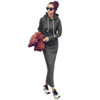 Vestidos 2016 Autumn Winter Retro Women Fleece Slim Hoodie Bodycon Long Sweatshirts Casual Ladies Maxi Ankle-length Solid Dress