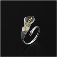 Exclusive! 925 Sterling Silver Handmade Jewelry Very Fresh Calla Lily Design Rings For Women Natural Garnet Gift