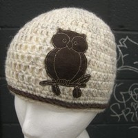 New...Wheat and Brown Owl Hat