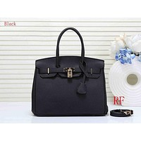 Hermes new fashion ladies simple casual top layer leather lychee pattern shoulder bag Black