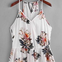 Flower Print Keyhole Back Peplum Cami Top