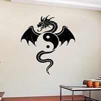 Wall Decal Vinyl Sticker Decals Symbol Dragon Yin Yang Yoga Wall Stickers Home Decor Art Bedroom Design Interior Wall Decor Mural C473