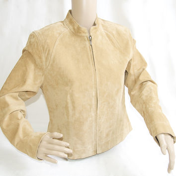 Kate Hill Soft Leather Suede Tan Jacket