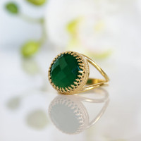 Valentine's Day Sale - green onyx ring,gold ring,gemstone ring,green jewelry,faceted ring,large ring,14k gold fill ring,personalized ring