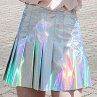 Hologram Pleated Mini Skirt