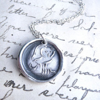 Wax seal jewelry owl pendant created from recycled fine silver by Dream of a Dream