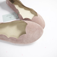 Old Pink Soft Suede Scalloped Handmade Ballet Flats Shoes
