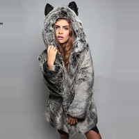 Winter Womens Long Sleeve Gray/Black Faux Fur Coat With Bear Ear Cute Thick Coat Outerwear Overcoat Parka S XL 31-in Fur & Faux Fur from Women's Clothing & Accessories on Aliexpress.com | Alibaba Group