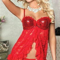 Babydoll Sets Lace Sexy Lingeries Red - OuterInner