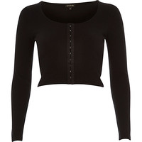 River Island Womens Black hook and eye ribbed crop top