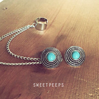 Turquoise Stud Ear Cuff with Silver Chain