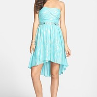Jump Apparel Foiled Chiffon High/Low Dress (Juniors)