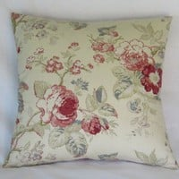 Ivory Floral Pillow Cover with Pink Roses