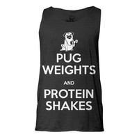 Pug Weights and Protein Shakes Tank, Tank top, Pug Tank, Workout Clothing, Gym Tank Top