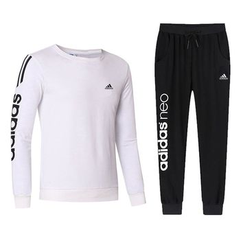 ADIDAS 2018 autumn and winter new casual outdoor sportswear two-piece White