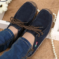 Fashion women casual shoes Autumn women leather shoes solid lace up flat Brand shoes woman chaussure femme 2016 new DT90