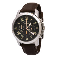 Fossil FS4813 Men's Grant Black Dial Brown Leather Strap Chronograph Watch