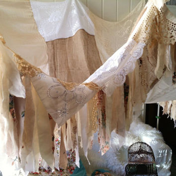 Boho Bed canopy shabby chic wedding rustic Bohemian Hippy vtg scarf Gypsy hippie patchwork crocheted Decor photo canopies backdrop Fringe