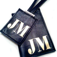 Men's Personalized Monogrammed Leather Passport Cover & Luggage Tag Set