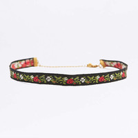 Red Rose Tapestry Black Choker Necklace - Urban Outfitters