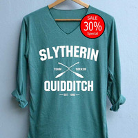 Slytherin Quidditch Shirt Harry Potter Shirts V-Neck Green Unisex Adult Size S M L