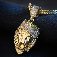 2017 Mens Full Iced Out Rhinestone Lion Tag Pendant Chain Hip Hop Necklace Vintage Punk Jewelry Fashion Men Jewelry