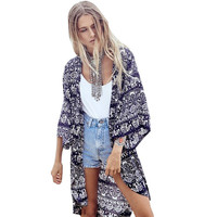 Lace Girl Women Blouse Beach Boho Kimono Cardigan Summer Autumn Floral Printed 3/4 Sleeve Casual Loose Long Beach Coat Tops