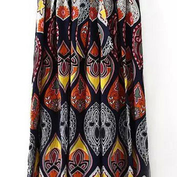 Printed High Waist Maxi Skirt