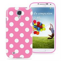Samsung Galaxy S4 Polka Dot Soft Rubberized Case Cover (Pink)