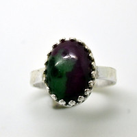 Ruby Zoisite Ring, Handforged Sterling Silver Ring, Cocktail Ring,