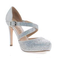 Summer45 Silver Shimmering By Blossom, D'Orsay Sparkling Strappy Stiletto Heel Pumps