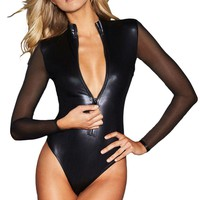 Black Faux Leather Mesh Patchwork Bodysuit New Women Front Zipper High Neck Full Sleeve Shorts Playsuit One Piece Bodysuits