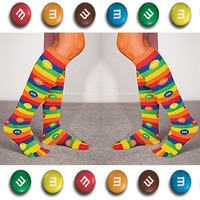 MM's Mar's Candy Bright Novelty Knee-High Toe Socks (Set of 2 Pairs)