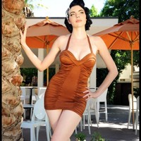 Old Hollywood Swimsuit in Bronzed Copper | Pinup Girl Clothing