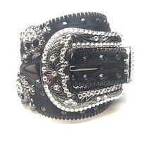 "B.B. Simon ""Double Studded Skull Pony Hair"" Crystal Belt"