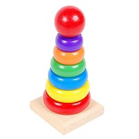 Kids Baby Wooden Toys Stacking Ring Tower Educational Toys Blocks For Children Baby Rainbow Stack Up