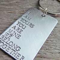 Couples Key Chain Keychain Hand Stamped Brushed Aluminum Made To Order Couples Gift For Husband Wife Girlfriend Boyfriend We Belong Together
