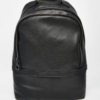 ASOS Backpack In Black Faux Leather With Zip Detail