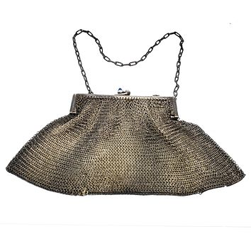 Deauville France J antique Edwardian mesh purse chainmail sterling plated silver