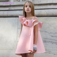 Girls Dress Brand  pink Summer Beach Style Floral Print Party Backless Dresses For Girls Vintage Toddler Girl Clothing